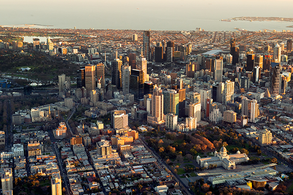 Melbourne aerial sunset